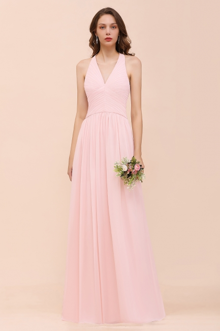 Elegante Bruatjungfernkleider Rosa | Chiffon Kleider Lang
