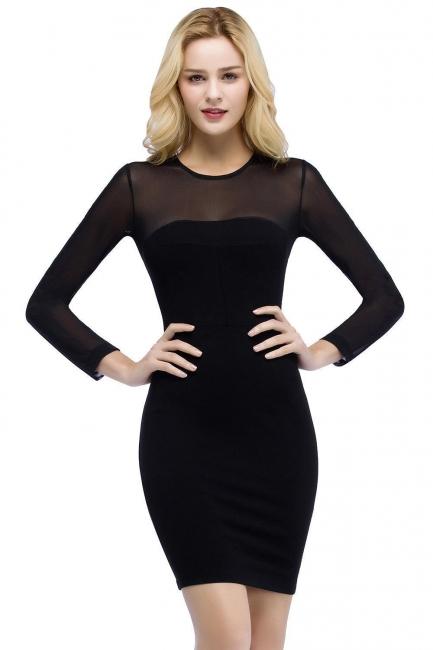 Schwarzes Cocktailkleider Kurz   Abendkleider mit Ärmel