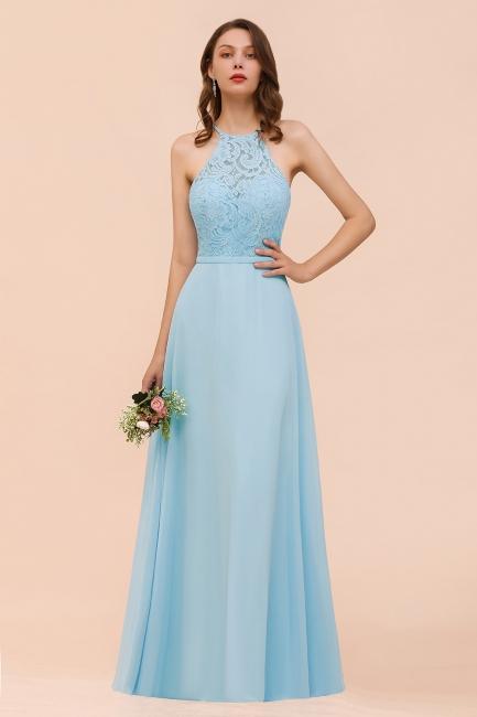 Brautjungfernkleider Lang Blau | Chiffon Kleider Abendmoden Günstig