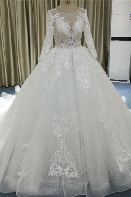 Wunderschöne Brautkleider A Linie | Hochzeitskleider mit Spitze Ärmel