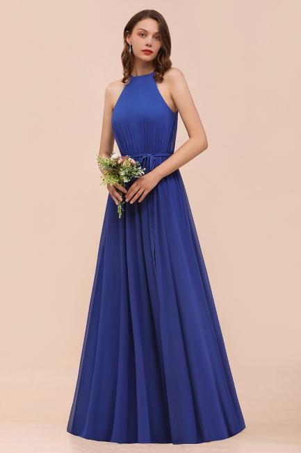 Royal Blaue Brautjungfernkleider Lang   Chiffon Kleider Günstig