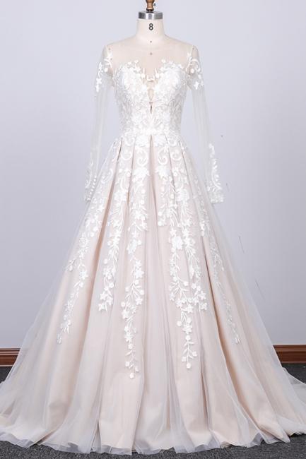 Designer Brautkleider A Linie   Hochzeitskleider Lange Spitze Ärmel