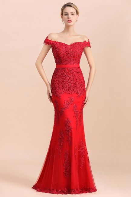 Rote Abendkleider Lang Günstig | Abiballkleider mit Spitze