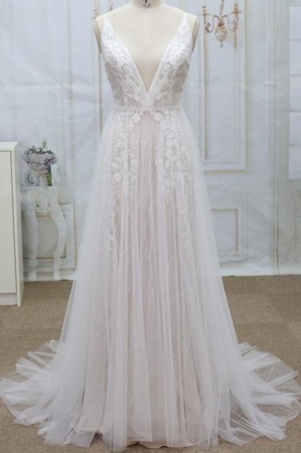 Designer Hochzeitskleider A Linie | Brautkleider mit Spitze