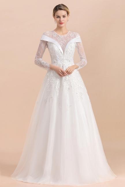 Luxus Brautkleider mit Ärmel   Hochzeitskleid A Linie