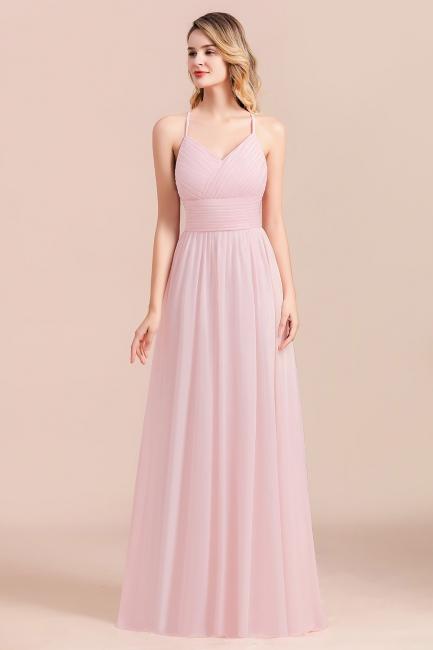 Brautjungfernkleider Lang Rosa | Schlichtes Abendkleid
