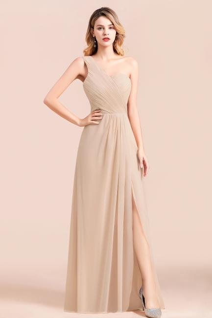 Elegante Chiffon Kleider | Champagne Brautjunfgernkleider Lang Günstig