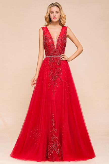Abendkleider Lang V Ausschnitt |  Rote Ballkleid Spitze