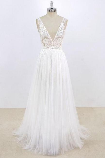 Schlichte Brautkleider Mit Spitze | Hochzeitskleider Günstig Online