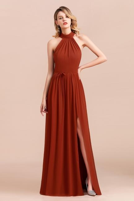 Schöne Rote Brautjungfernkleider Lang | Chiffon Kleider Günstig