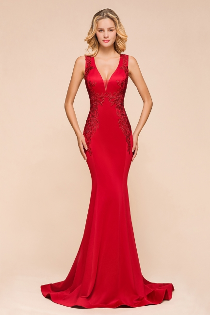 Abendkleid Rot Lang Günstig | Schlichte Abendmoden Abiballkleider