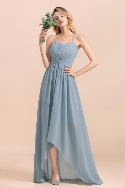 Dusty Blau Brautjungfernkleider Lang Chiffon | Hochzeitspartykleider günstig