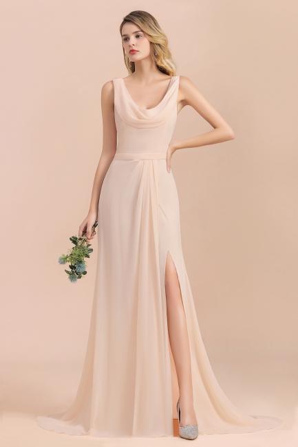 Champagne Brautjungfernkleider Günstig | Brautjungfernkleid Lang Chiffon