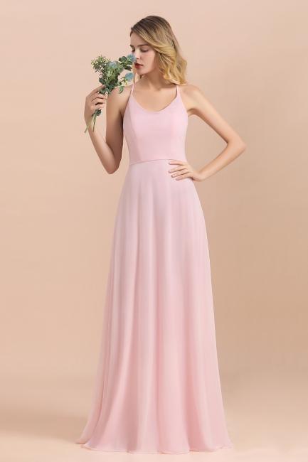 Schicke Brautjungfernkleider Lang Rosa | Chiffon Kleider
