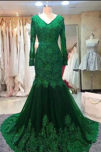 Elegante Abendkleider Grün | Abiballkleider Lang Günstig Mit Ärmel