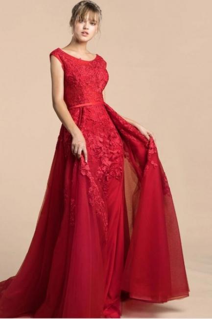 Elegante Abendkleider Lang Rot | Abiballkleider Spitze