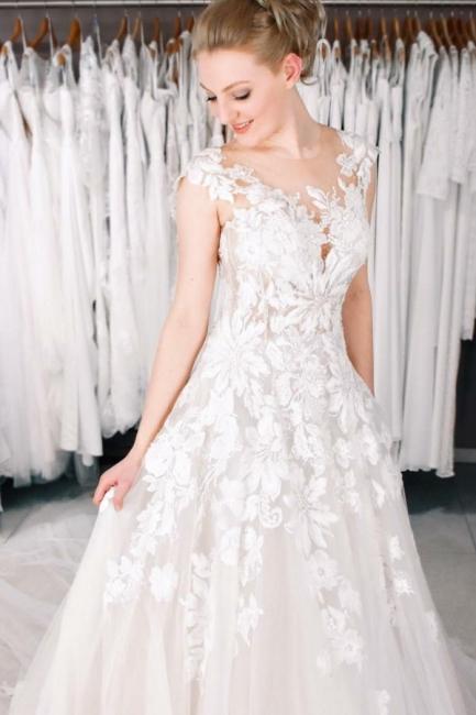 Spitze Hochzeitskleider A Linie   Brautkleider Online