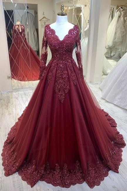 Rote Brautkleider Mit Ärmel | Spitze Hochzeitskleider A Linie