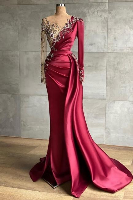 Schöne Abendkleider Lang Weinrot | Abiballkleider mit Ärmel