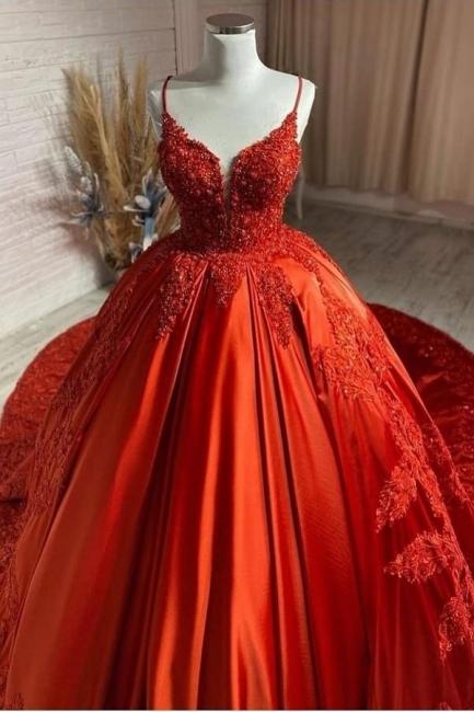 Rote Brautkleider Prinzessin | Hochzeitskleider mit Spitze