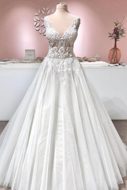 Wunderschöne Hochzeitskleider A Line | Brautkleider Mit Spitze