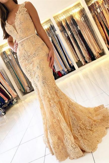 Designer Abendkleider Lang Spitze | Abiballkleider V Ausschnitt