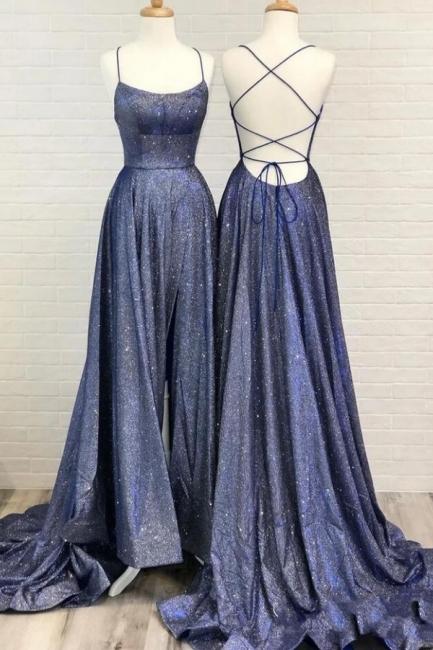 Abiballkleider Lang Glitzer | Abendkleider Blau