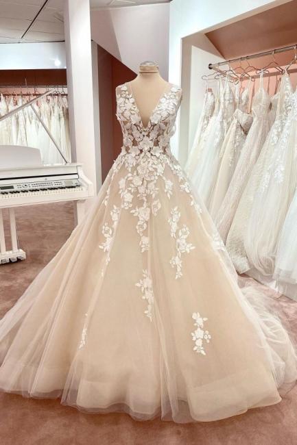 Brautkleider A linie Spitze | Hochzeitskleider Online Kaufen