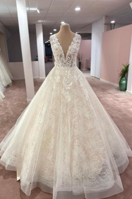 Designer Brautkleider A Linie Spitze | Wunderschöne Hochzeitskleider Online