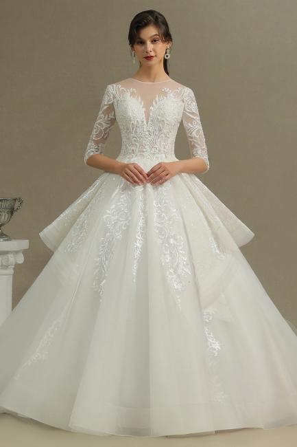 Designer Hochzeitskleider A Linie | Bruatkleider Spitzeärmel
