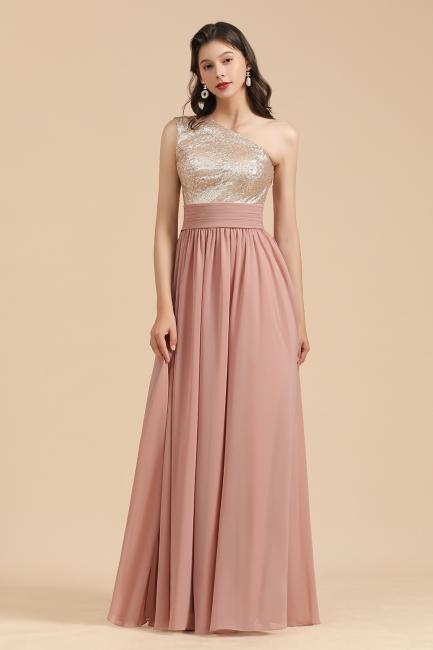Brautjungfernkleider Lang Altrosa | Abendkleid mit Glitzer