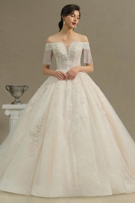 Extravagante Brautkleider A Linie   Spitze Hochzeitskleider mit Ärmel