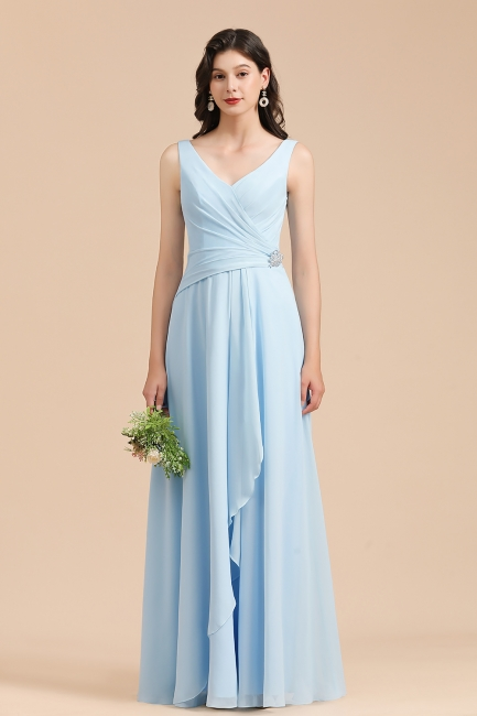 Brautjungfernkleider Heller Blau   Günstiges Brautjungfernkleid Lang Chiffon