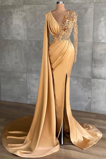 Abendkleider Lang Gold | Abiballkleider mit Glitzer