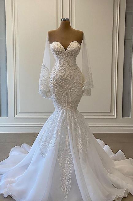 Luxus Brautkleider Mit Ärmel | Spitze Hochzeitskleid Meerjungfrau