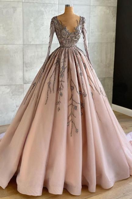 Luxus Abendkleider mit Ärmel | Abiballkleider Lang Glitzer