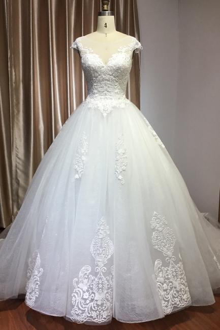 Schlichte Brautkleider Prinzessin   Hochzeitskleider mit Spitze