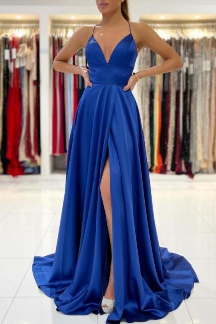Schlichtes Abendkleid König Blau | Abiballkleider Lang Günstig