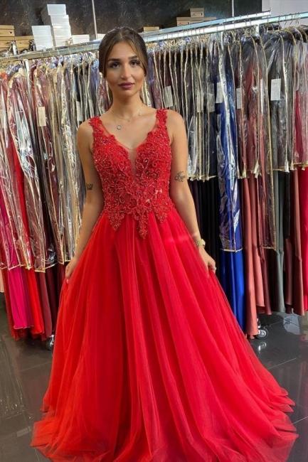 Rotes Abendkleid Lang v Ausschnitt | Abendkleider mit Spitze