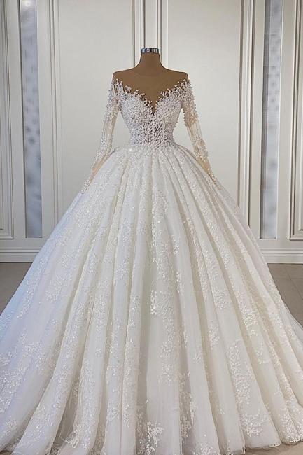 Schöne Hochzeitskleider Extravagant | Brautkleider A Linie Mit Ärmel