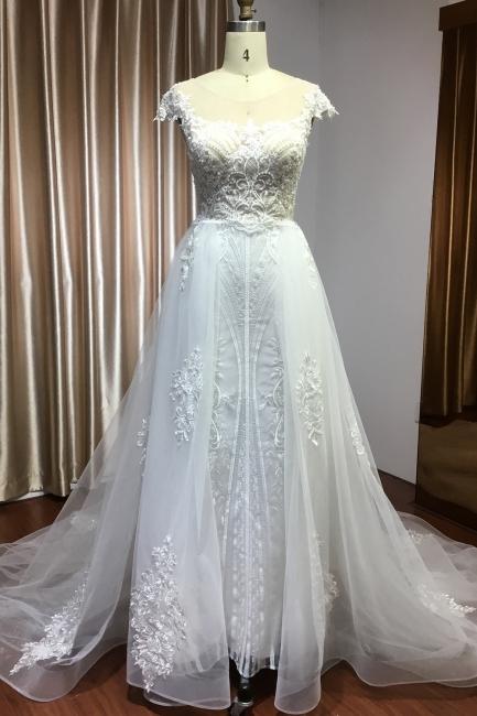 Schöne Hochzeitskleider A Linie Spitze | Brautkleider Online Kaufen