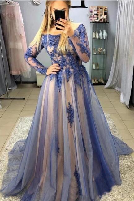 Blaue Abendkleider Mit Ärmel   Abiballkleider Lang Spitze