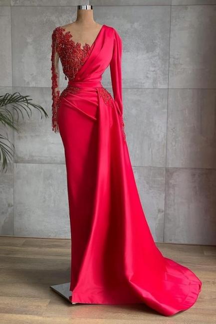 Rote Abendkleider Mit Ärmel   Abiballkleider Lang Günstig