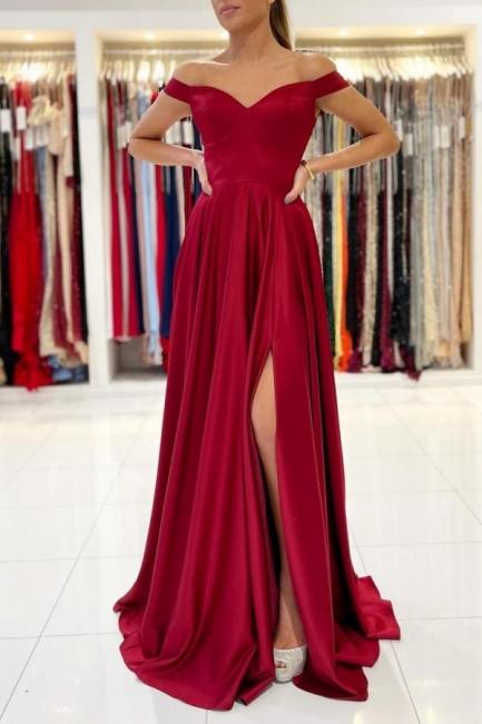 Rotes Abendkleid Lang Günstig   Schlichte Abiballkleider