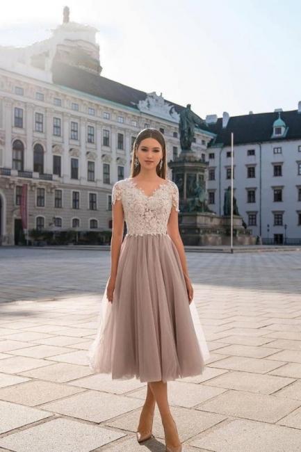 Schöne Cocktailkleider Kurz | Abendkleider Abiballkleider mit Spitze