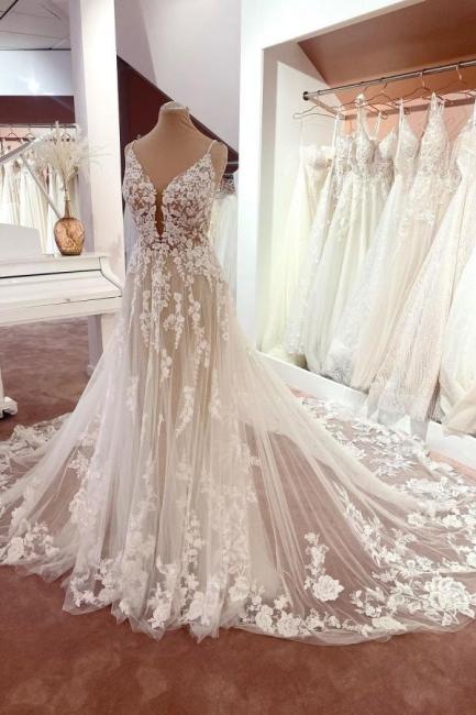 Elegante Brautkleider A Linie Spitze   Hochzeitskleider Günstig Online