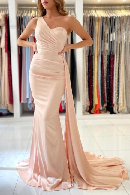 Schlichte Abendkleider Lang Günstig | Peach Abiballkleider Online
