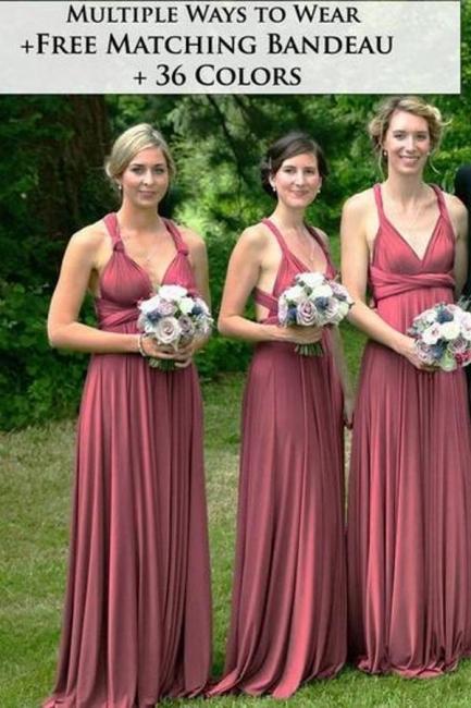 Weinrot Wandelbare Brautjungfernkleider | Kleider für Brautjungfern Günstig