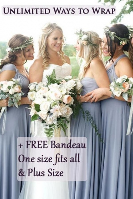 Wandelbare Brautjungfernkleider Blau   Brautjungfernkleid Lang Günstig