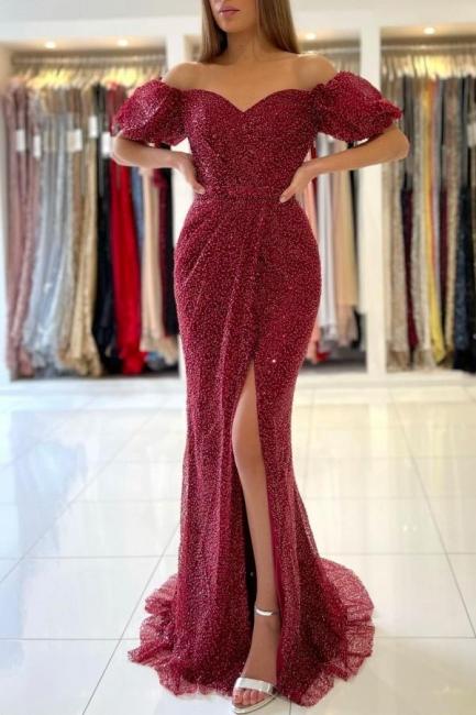 Rote Abendkleider Lang Glitzer   Abiballkleider Abendmoden Online